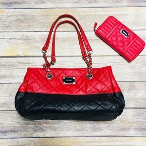 Nine West Purse Wallet Bundle Red Black Quilted